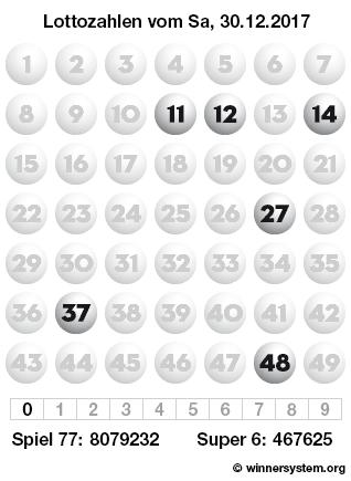 Lottozahlen vom 30.12.2017 als Tippmuster