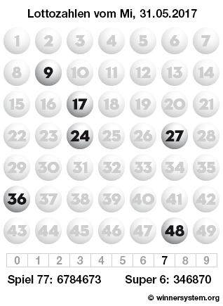 Lottozahlen vom 31.05.2017 als Tippmuster
