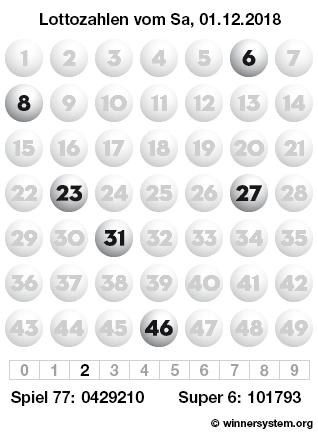 Lottozahlen vom 01.12.2018 als Tippmuster