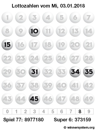 Lottozahlen vom 03.01.2018 als Tippmuster