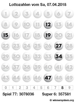 Lottozahlen vom 07.04.2018 als Tippmuster