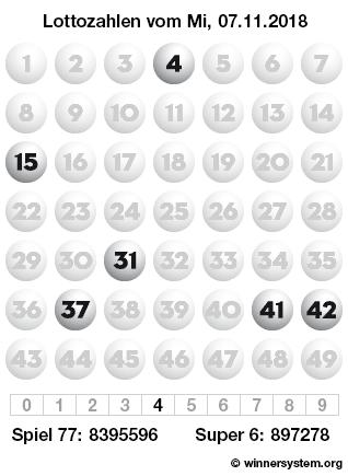 Lottozahlen vom 07.11.2018 als Tippmuster