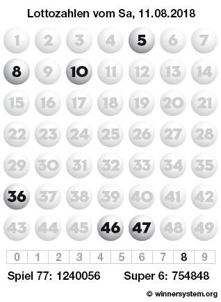 Lottozahlen vom 11.08.2018 als Tippmuster