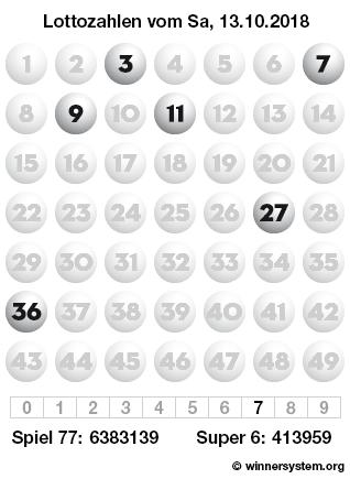 Lottozahlen vom 13.10.2018 als Tippmuster