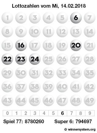 Lottozahlen vom 14.02.2018 als Tippmuster