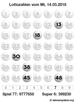 Lottozahlen vom 14.03.2018 als Tippmuster