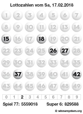 Lottozahlen vom 17.02.2018 als Tippmuster
