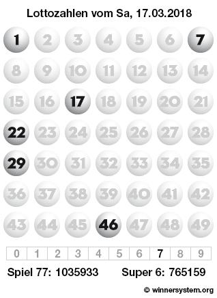 Lottozahlen vom 17.03.2018 als Tippmuster