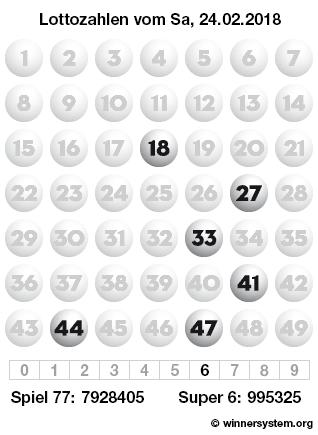 Lottozahlen vom 24.02.2018 als Tippmuster