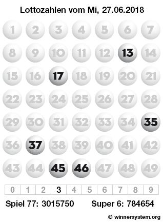Lottozahlen vom 27.06.2018 als Tippmuster