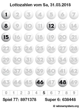 Lottozahlen vom 31.03.2018 als Tippmuster