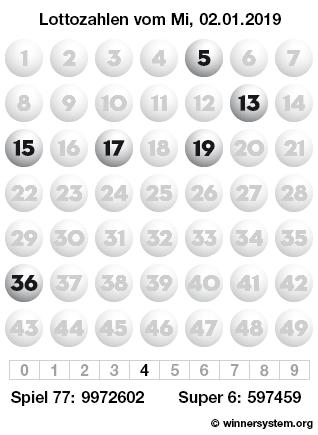 Lottozahlen vom 02.01.2019 als Tippmuster