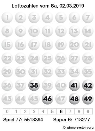 Lottozahlen vom 02.03.2019 als Tippmuster