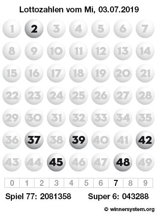 Lottozahlen vom 03.07.2019 als Tippmuster