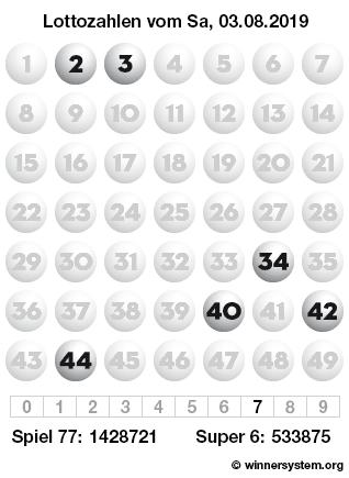 Lottozahlen vom 03.08.2019 als Tippmuster
