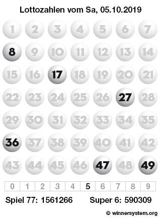 Lottozahlen vom 05.10.2019 als Tippmuster