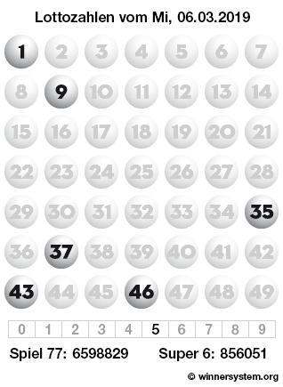 Lottozahlen vom 06.03.2019 als Tippmuster