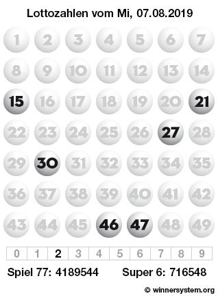 Lottozahlen vom 07.08.2019 als Tippmuster