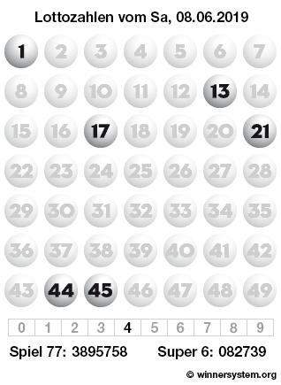 Lottozahlen vom 08.06.2019 als Tippmuster