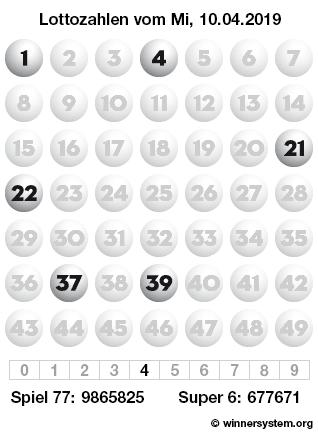 Lottozahlen vom 10.04.2019 als Tippmuster