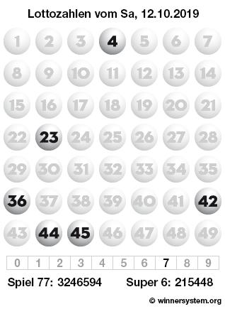 Lottozahlen vom 12.10.2019 als Tippmuster
