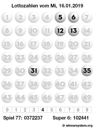 Lottozahlen vom 16.01.2019 als Tippmuster
