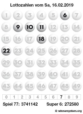 Lottozahlen vom 16.02.2019 als Tippmuster