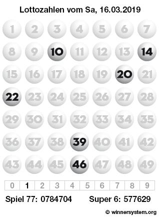 Lottozahlen vom 16.03.2019 als Tippmuster