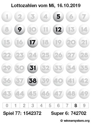 Lottozahlen vom 16.10.2019 als Tippmuster