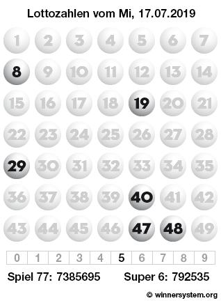 Lottozahlen vom 17.07.2019 als Tippmuster