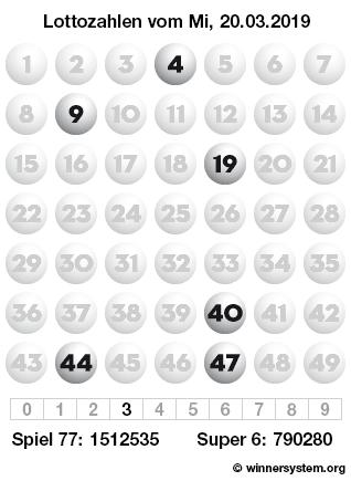 Lottozahlen vom 20.03.2019 als Tippmuster
