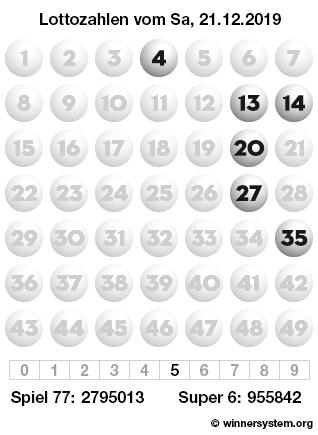 Lottozahlen 21.12 19 Samstag