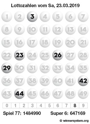 Lottozahlen vom 23.03.2019 als Tippmuster