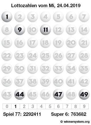 Lottozahlen 24.04 20