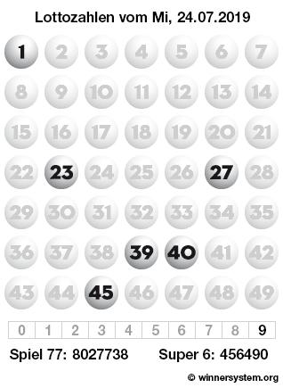 Lottozahlen vom 24.07.2019 als Tippmuster