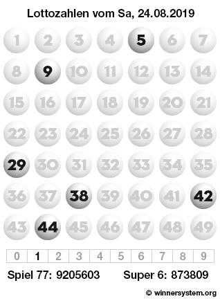 Lottozahlen vom 24.08.2019 als Tippmuster