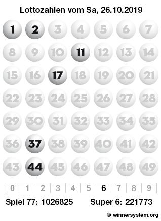 Lottozahlen vom 26.10.2019 als Tippmuster