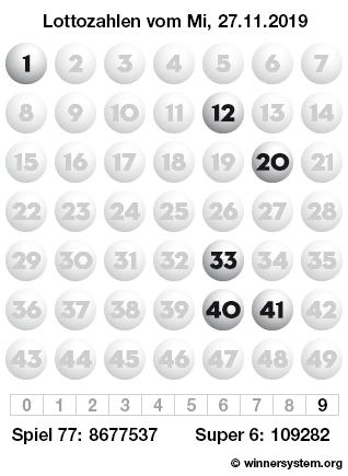 Lottozahlen vom 27.11.2019 als Tippmuster