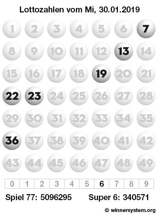 Lottozahlen vom 30.01.2019 als Tippmuster