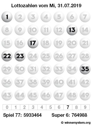 Lottozahlen vom 31.07.2019 als Tippmuster