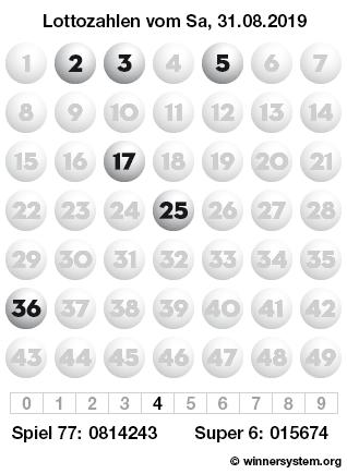 Lottozahlen vom 31.08.2019 als Tippmuster