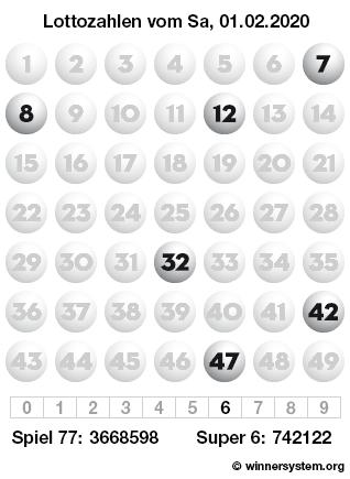 Lottozahlen vom 01.02.2020 als Tippmuster