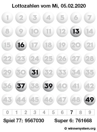 Lottozahlen vom 05.02.2020 als Tippmuster