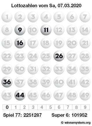 Lottozahlen vom 07.03.2020 als Tippmuster