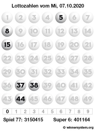 Lottozahlen vom 07.10.2020 als Tippmuster