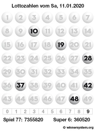 Lottozahlen vom 11.01.2020 als Tippmuster