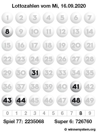 Lottozahlen vom 16.09.2020 als Tippmuster