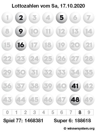 Lottozahlen vom 17.10.2020 als Tippmuster