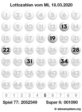 Lottozahlen vom 18.03.2020 als Tippmuster
