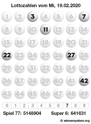 Lottozahlen vom 19.02.2020 als Tippmuster